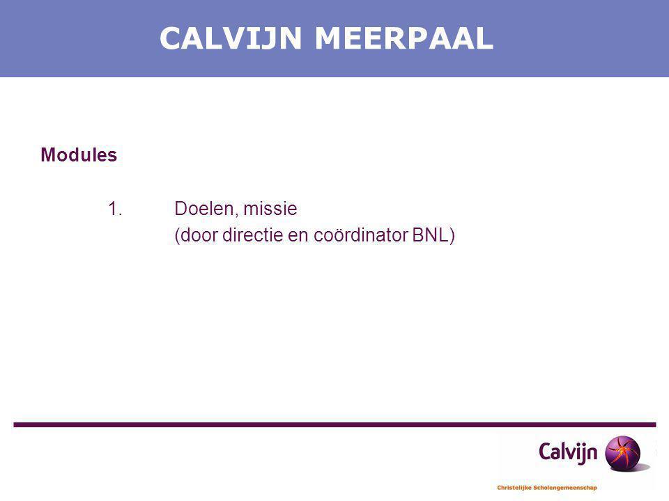 CALVIJN MEERPAAL Modules 1. Doelen, missie