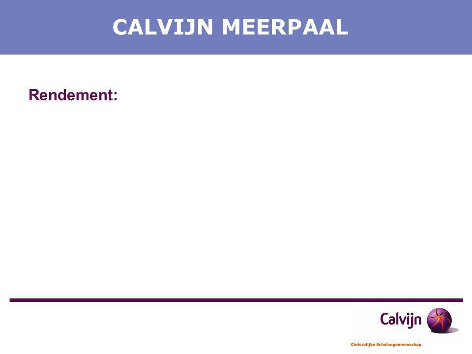 CALVIJN MEERPAAL Rendement: