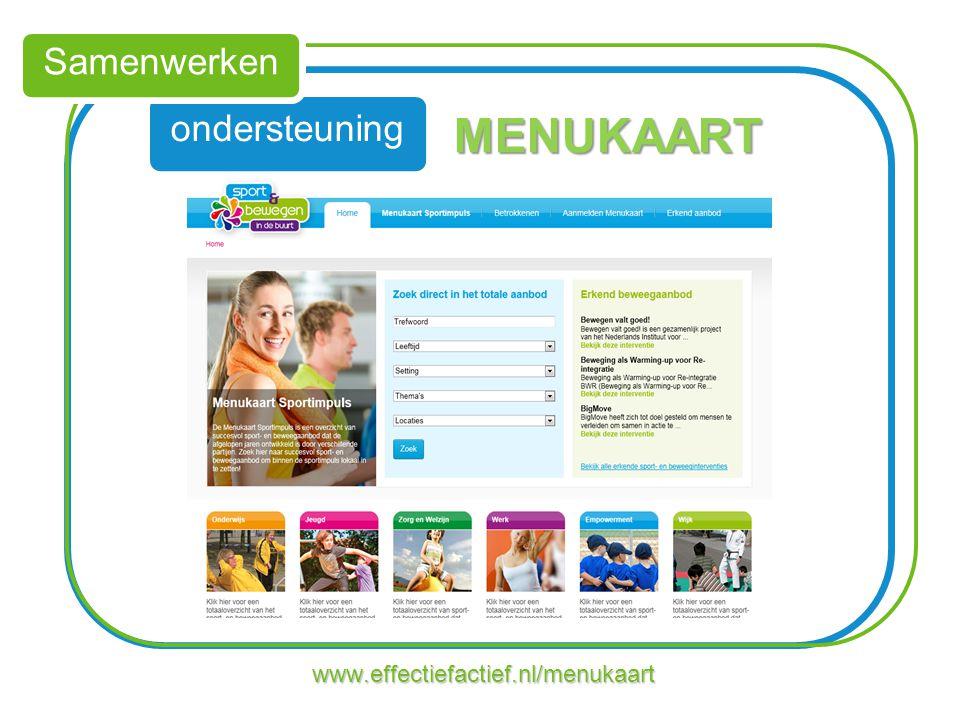 Samenwerken ondersteuning MENUKAART www.effectiefactief.nl/menukaart