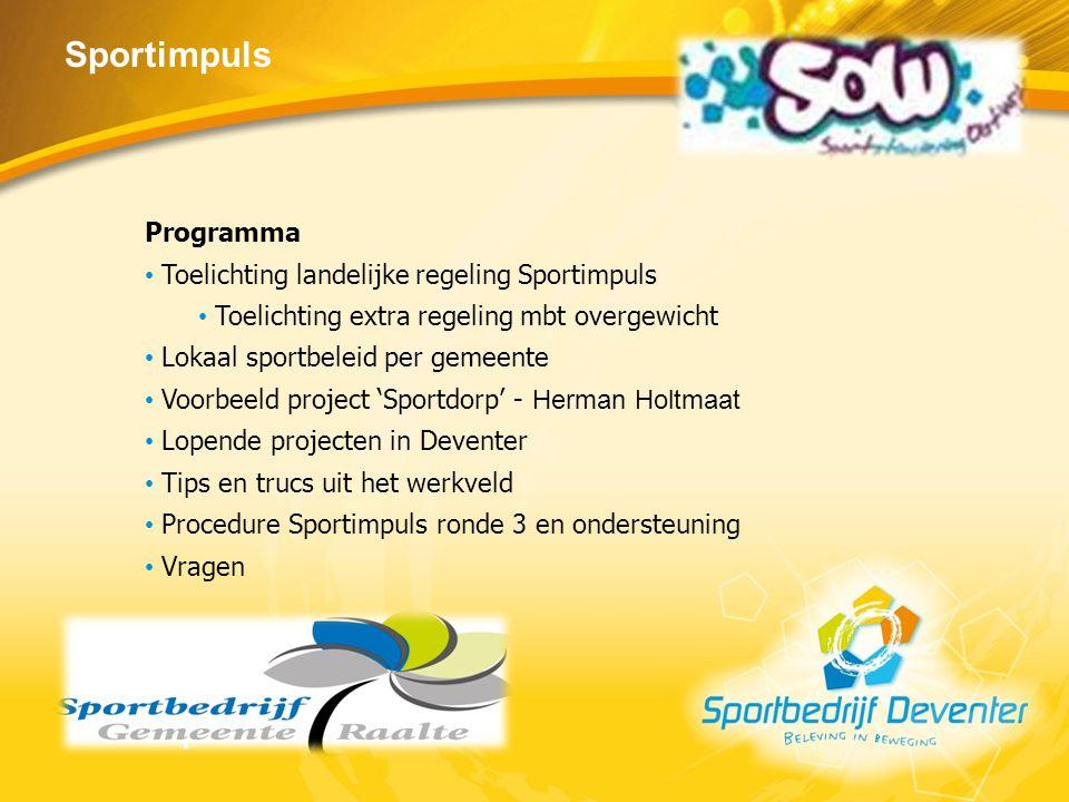 Sportimpuls Programma Toelichting landelijke regeling Sportimpuls