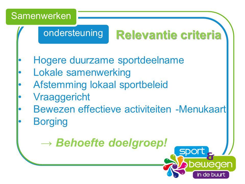 Relevantie criteria → Behoefte doelgroep!