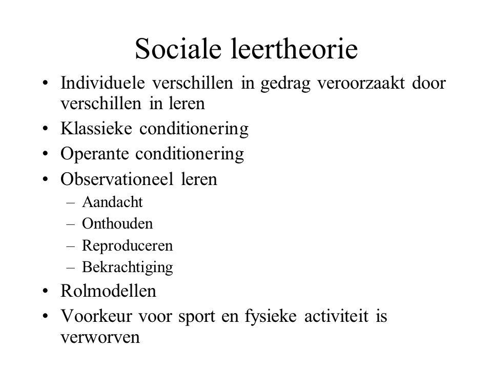 Sociale leertheorie Individuele verschillen in gedrag veroorzaakt door verschillen in leren. Klassieke conditionering.