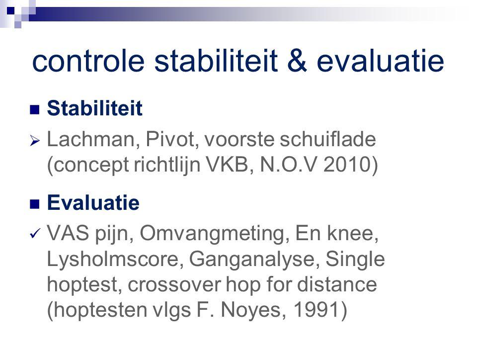 controle stabiliteit & evaluatie