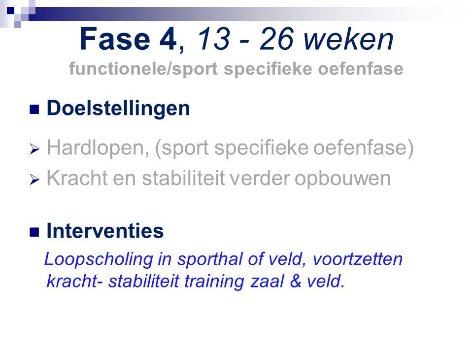 Fase 4, 13 - 26 weken functionele/sport specifieke oefenfase