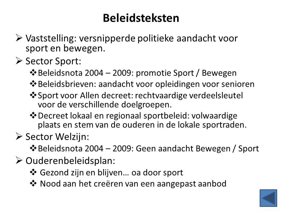 Beleidsteksten Vaststelling: versnipperde politieke aandacht voor sport en bewegen. Sector Sport: Beleidsnota 2004 – 2009: promotie Sport / Bewegen.