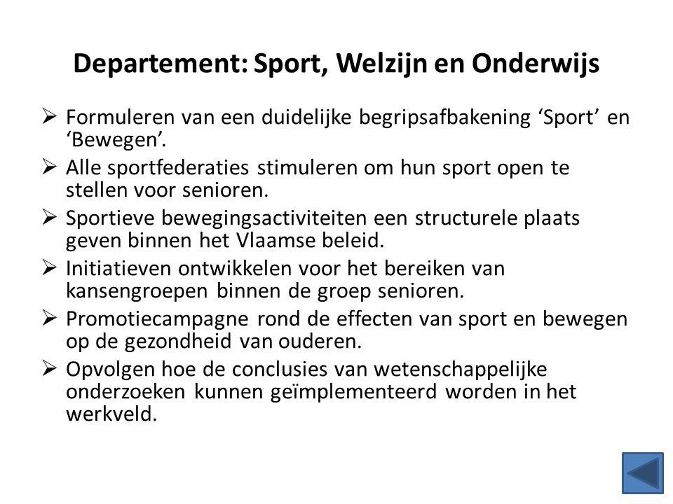 Departement: Sport, Welzijn en Onderwijs