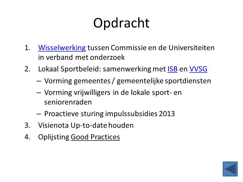 Opdracht Wisselwerking tussen Commissie en de Universiteiten in verband met onderzoek. Lokaal Sportbeleid: samenwerking met ISB en VVSG.