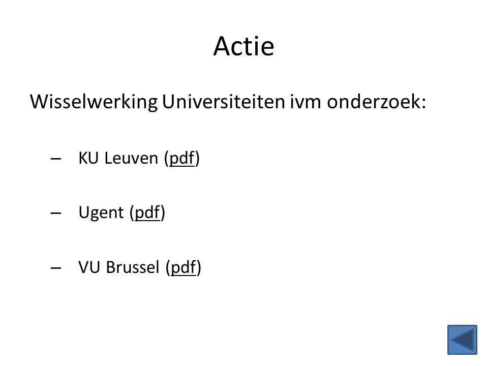 Actie Wisselwerking Universiteiten ivm onderzoek: KU Leuven (pdf)