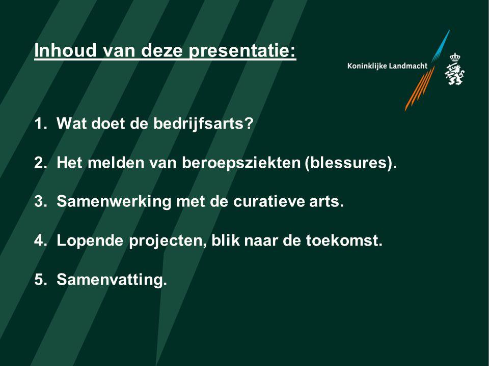 Inhoud van deze presentatie: 1. Wat doet de bedrijfsarts. 2