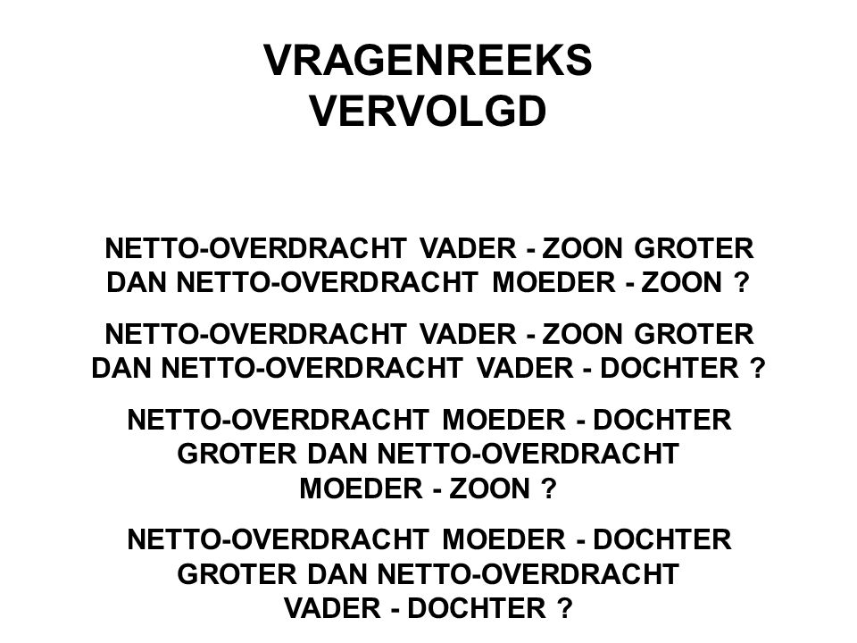 VRAGENREEKS VERVOLGD NETTO-OVERDRACHT VADER - ZOON GROTER DAN NETTO-OVERDRACHT MOEDER - ZOON