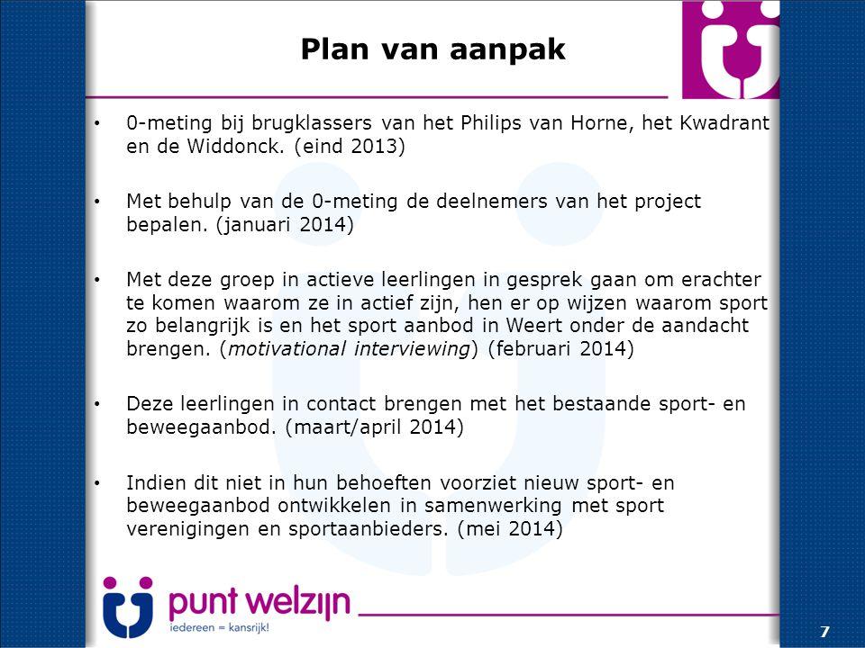 Plan van aanpak 0-meting bij brugklassers van het Philips van Horne, het Kwadrant en de Widdonck. (eind 2013)