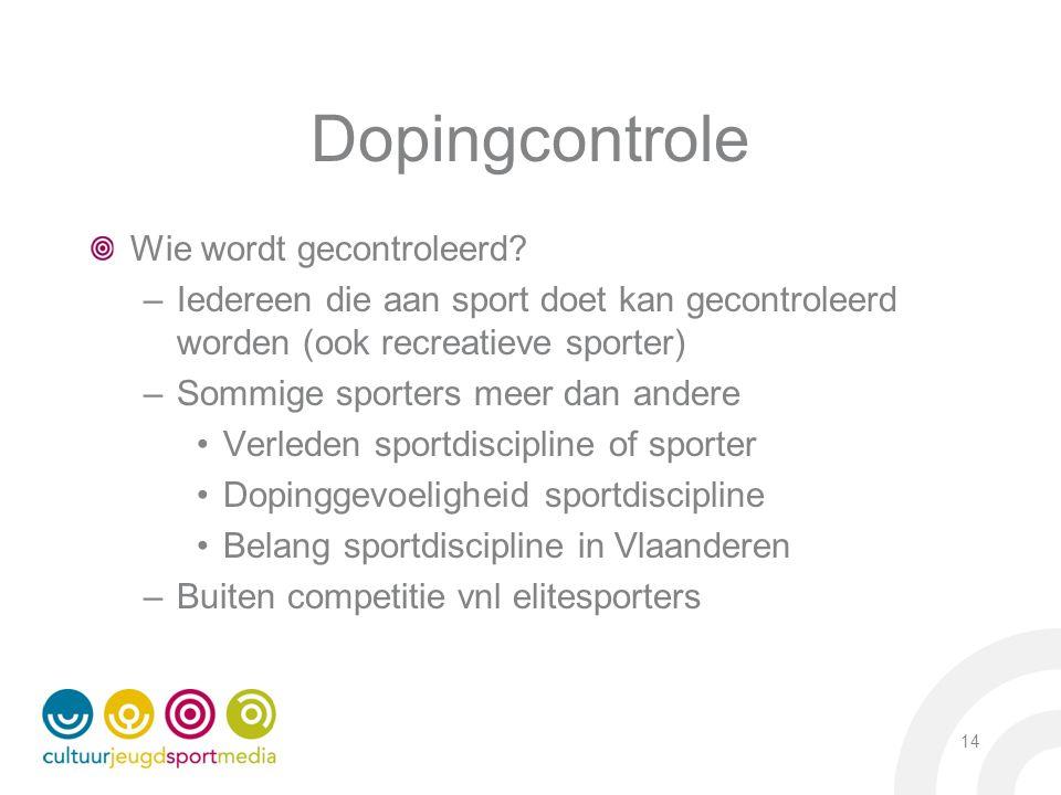 Dopingcontrole Wie wordt gecontroleerd