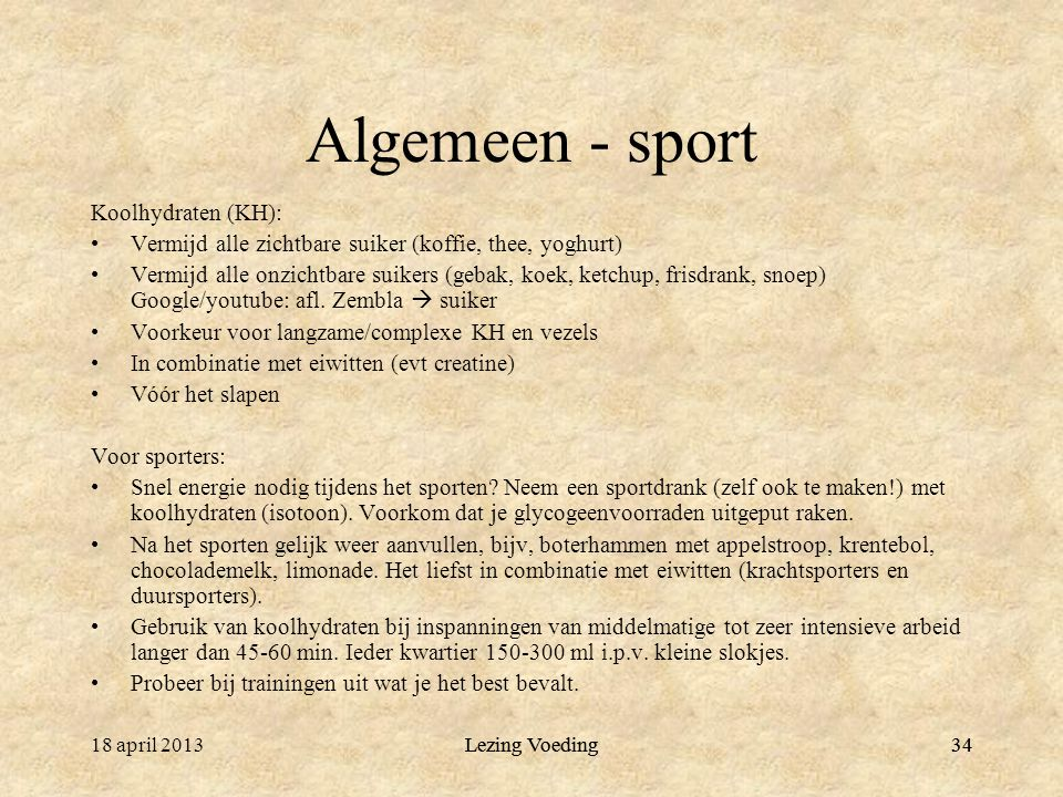 Algemeen - sport Koolhydraten (KH):