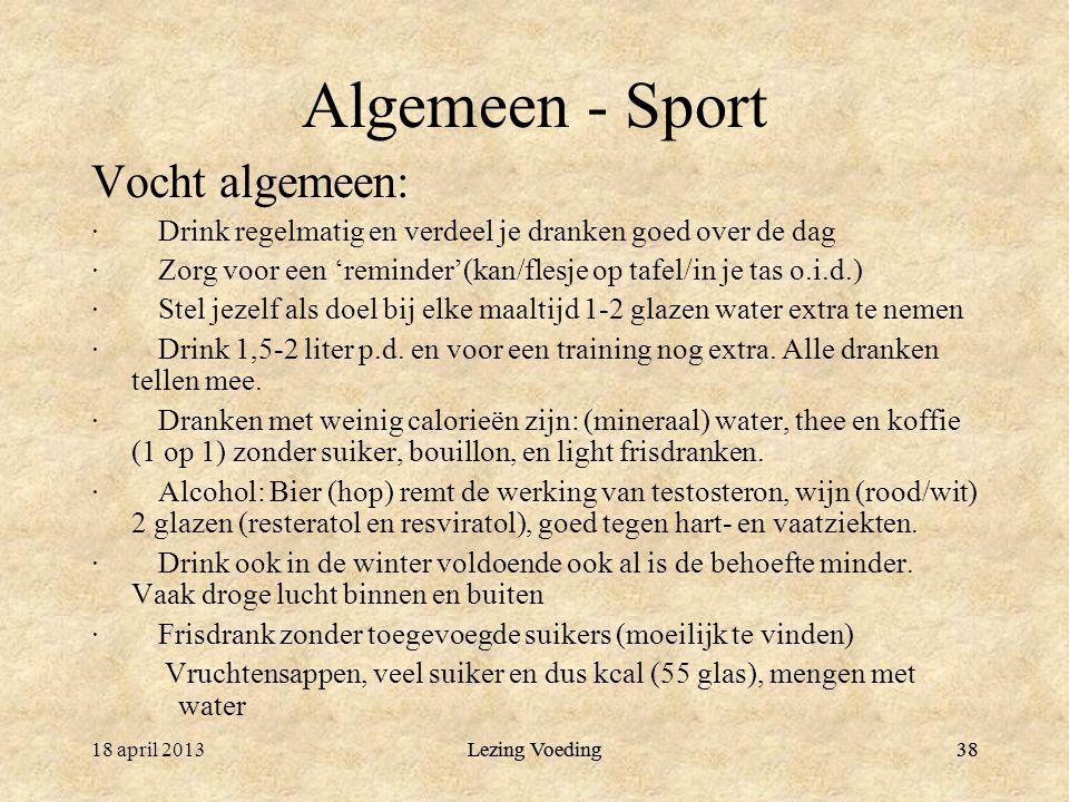 Algemeen - Sport Vocht algemeen:
