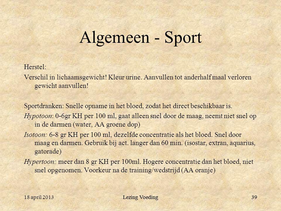 Algemeen - Sport Herstel: