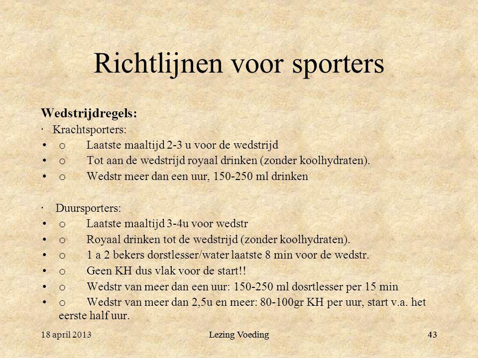 Richtlijnen voor sporters