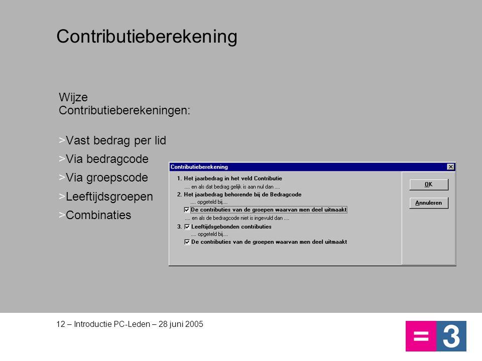 Contributieberekening