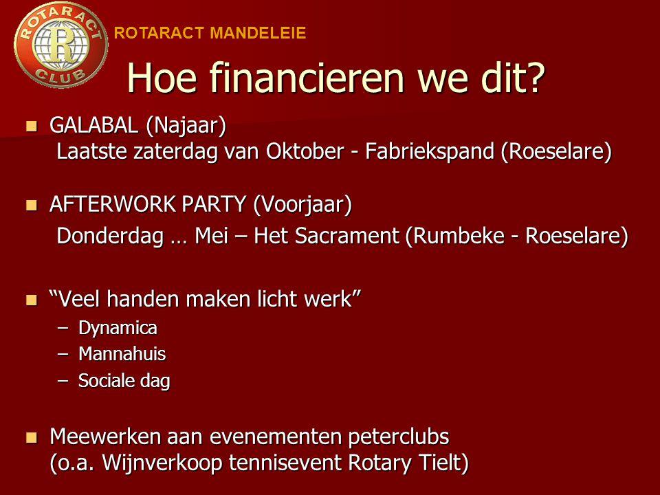 ROTARACT MANDELEIE Hoe financieren we dit GALABAL (Najaar) Laatste zaterdag van Oktober - Fabriekspand (Roeselare)