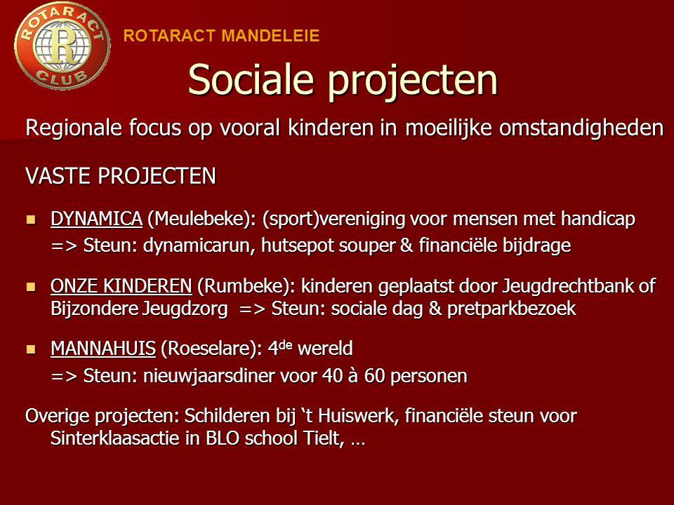 ROTARACT MANDELEIE Sociale projecten. Regionale focus op vooral kinderen in moeilijke omstandigheden.
