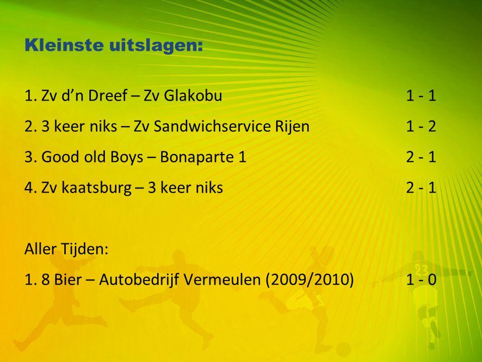 Kleinste uitslagen: 1. Zv d'n Dreef – Zv Glakobu 1 - 1. 2. 3 keer niks – Zv Sandwichservice Rijen 1 - 2.