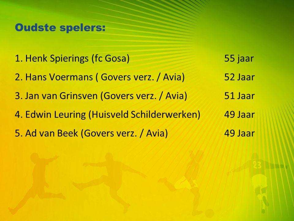 Oudste spelers: 1. Henk Spierings (fc Gosa) 55 jaar. 2. Hans Voermans ( Govers verz. / Avia) 52 Jaar.