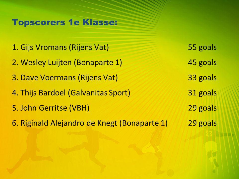 Topscorers 1e Klasse: 1. Gijs Vromans (Rijens Vat) 55 goals. 2. Wesley Luijten (Bonaparte 1) 45 goals.