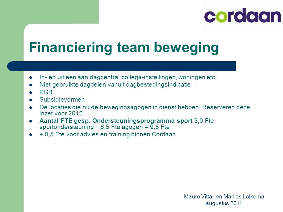 Financiering team beweging