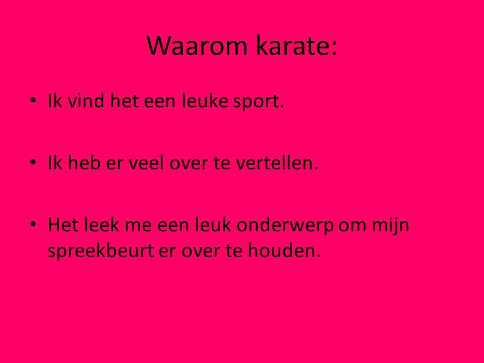 Waarom karate: Ik vind het een leuke sport.