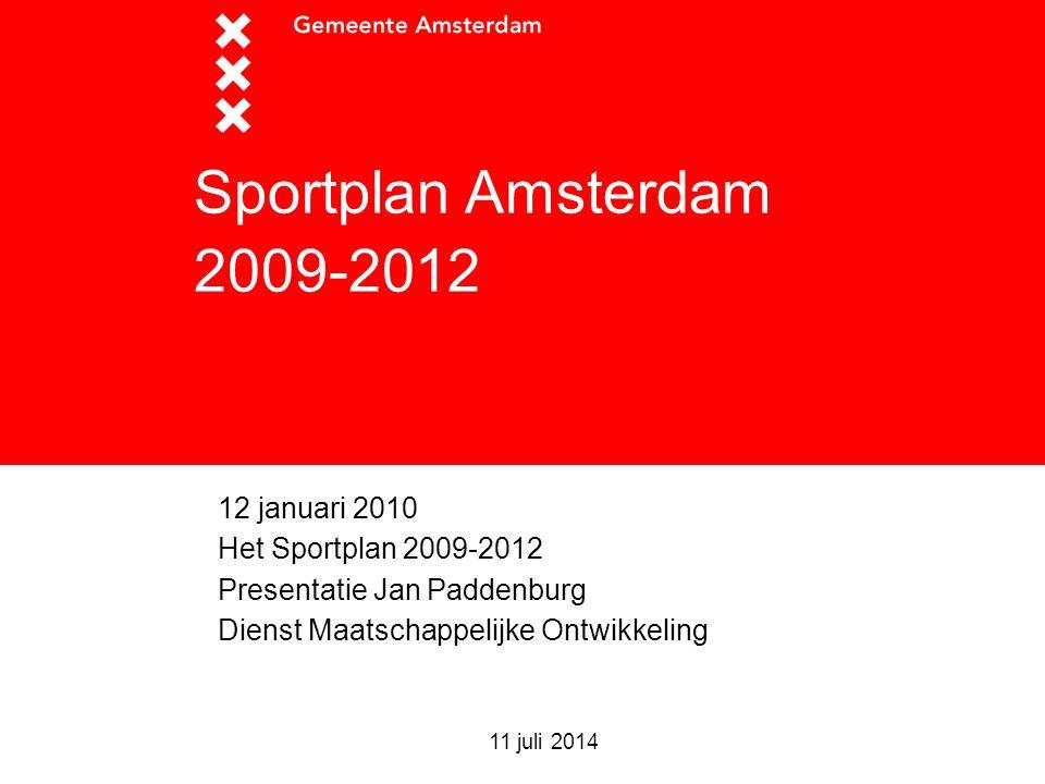 Sportplan Amsterdam 2009-2012 12 januari 2010 Het Sportplan 2009-2012