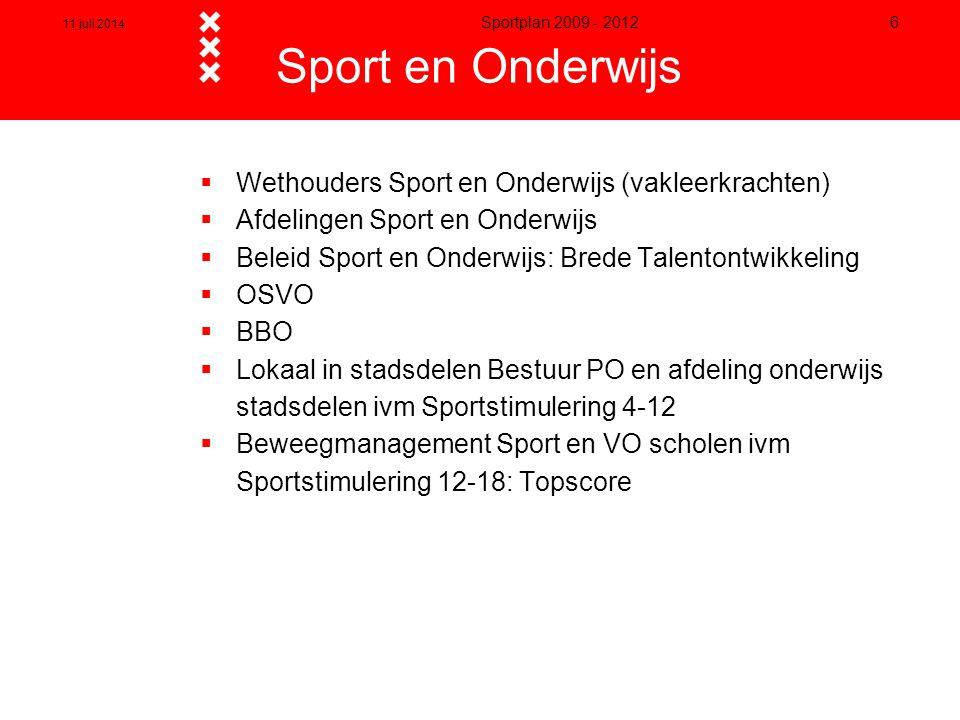 Sport en Onderwijs Wethouders Sport en Onderwijs (vakleerkrachten)