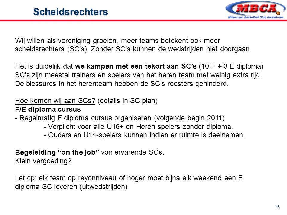 Wij willen als vereniging groeien, meer teams betekent ook meer scheidsrechters (SC's). Zonder SC's kunnen de wedstrijden niet doorgaan.