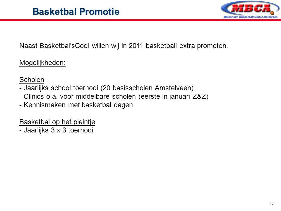 Basketbal Promotie Naast Basketbal'sCool willen wij in 2011 basketball extra promoten. Mogelijkheden: