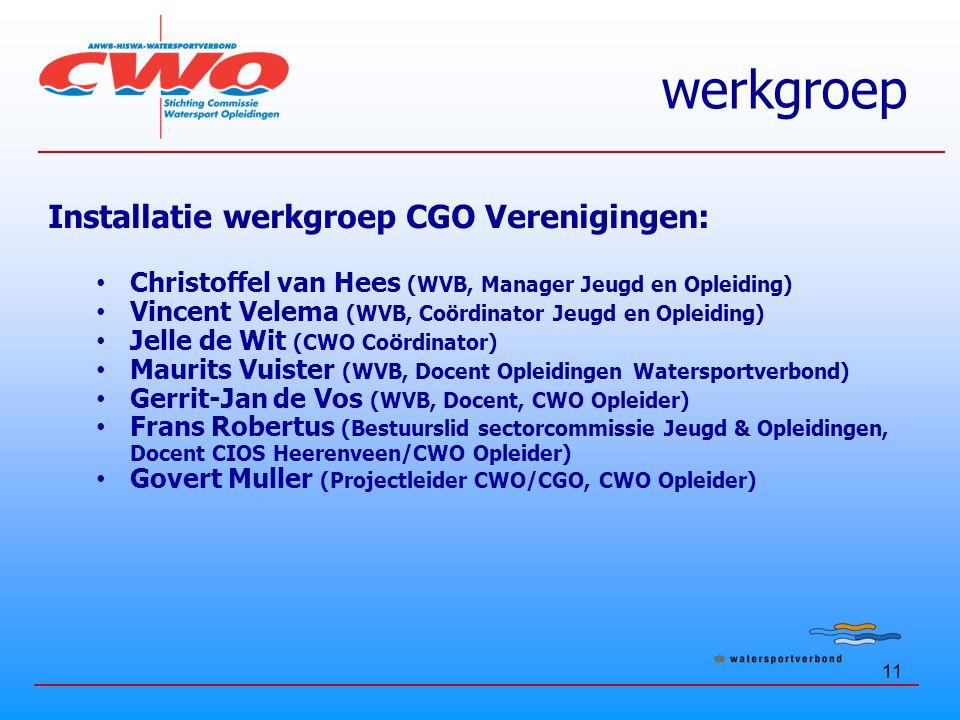 werkgroep Installatie werkgroep CGO Verenigingen: