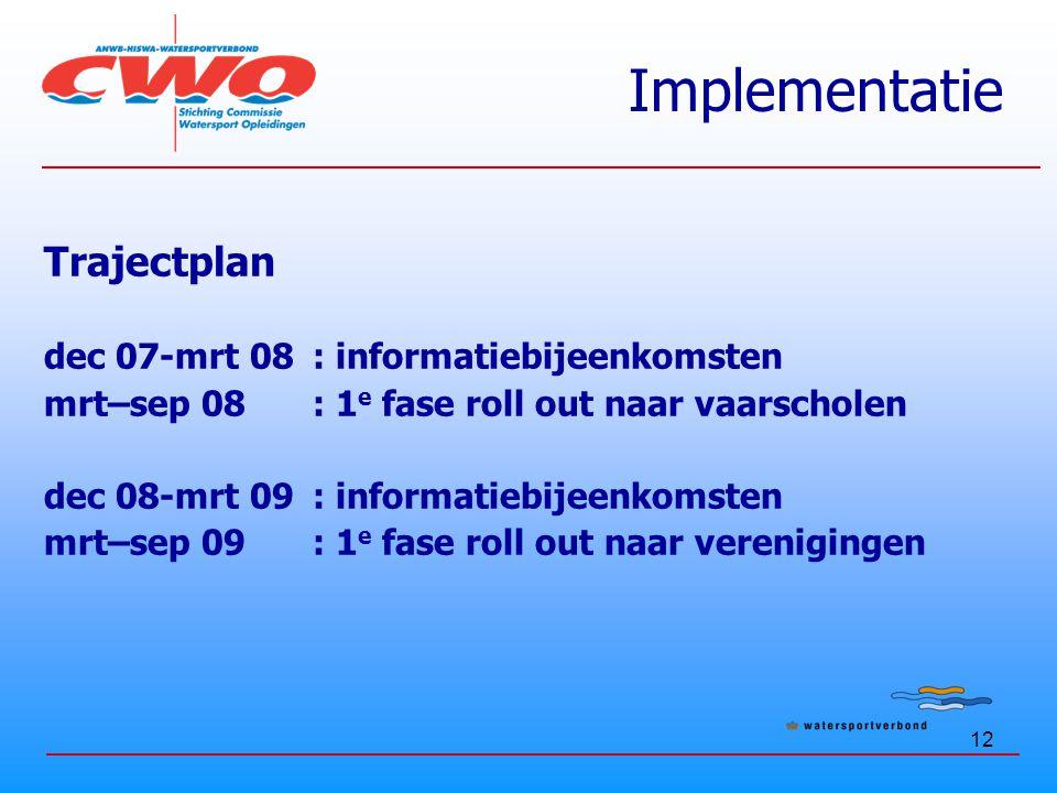 Implementatie Trajectplan dec 07-mrt 08 : informatiebijeenkomsten