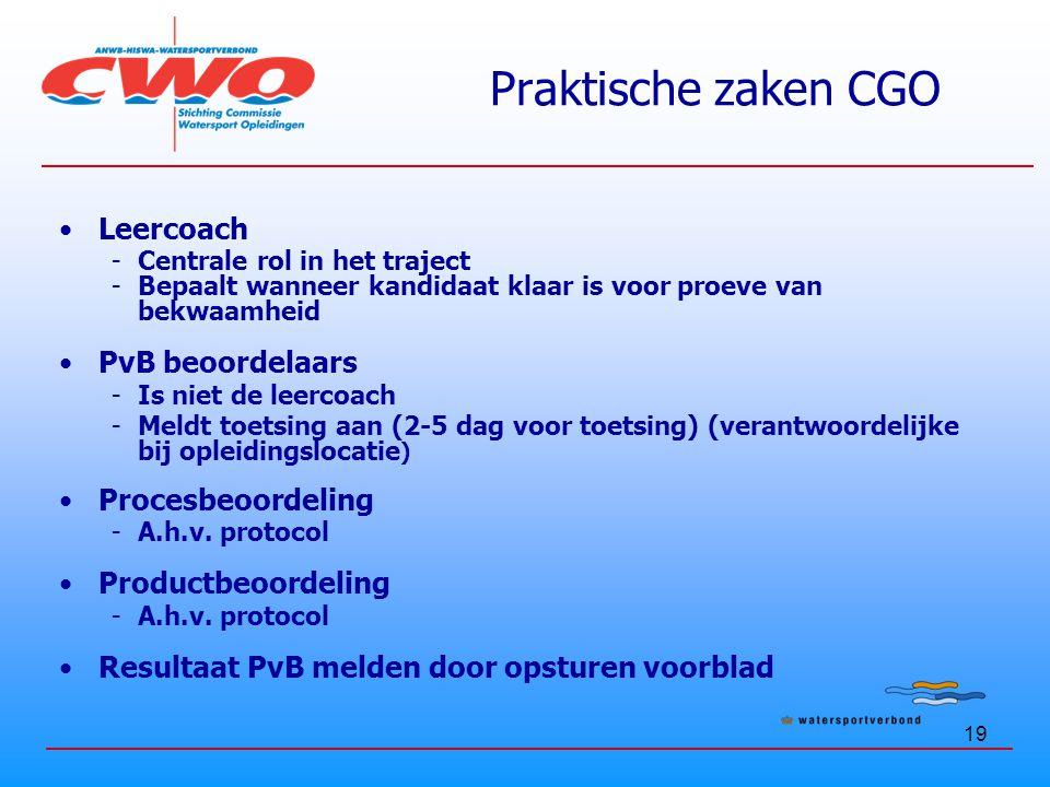 Praktische zaken CGO Leercoach PvB beoordelaars Procesbeoordeling