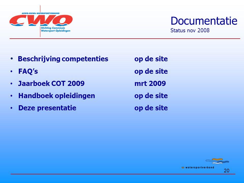 Documentatie Beschrijving competenties op de site FAQ's op de site