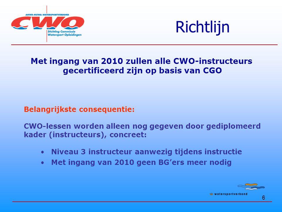 Richtlijn Met ingang van 2010 zullen alle CWO-instructeurs
