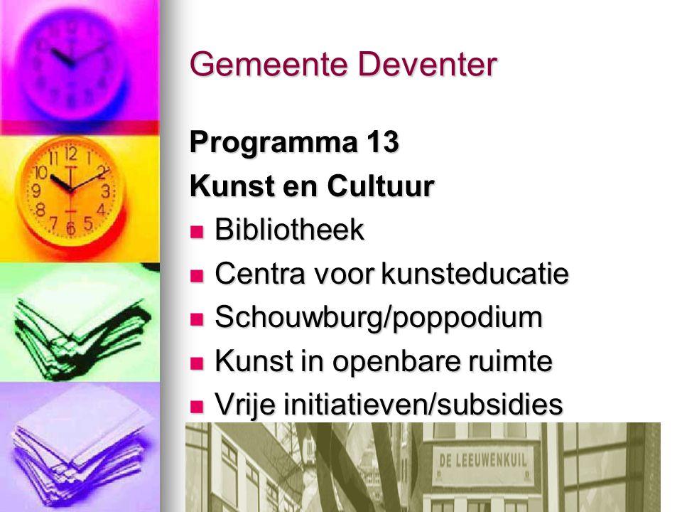 Gemeente Deventer Programma 13 Kunst en Cultuur Bibliotheek