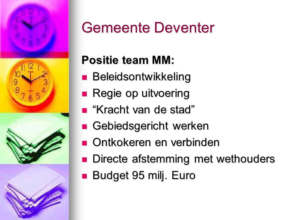 Gemeente Deventer Positie team MM: Beleidsontwikkeling