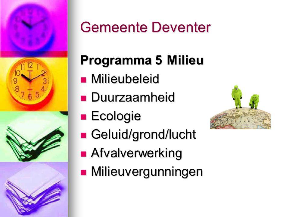 Gemeente Deventer Programma 5 Milieu Milieubeleid Duurzaamheid