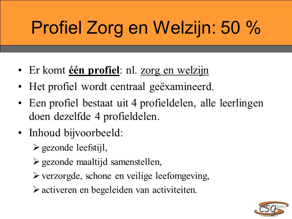 Profiel Zorg en Welzijn: 50 %