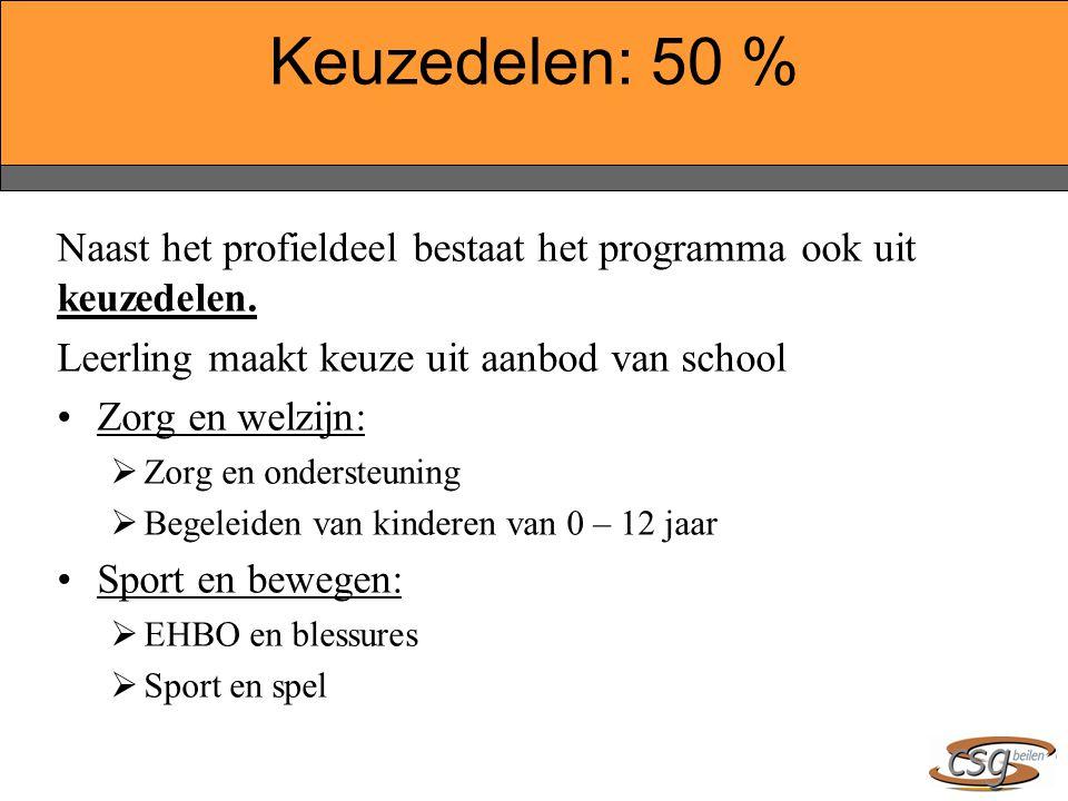 Keuzedelen: 50 % Naast het profieldeel bestaat het programma ook uit keuzedelen. Leerling maakt keuze uit aanbod van school.