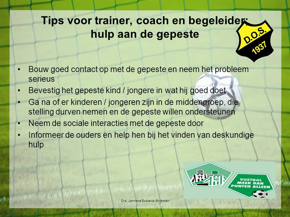 Tips voor trainer, coach en begeleider; hulp aan de gepeste