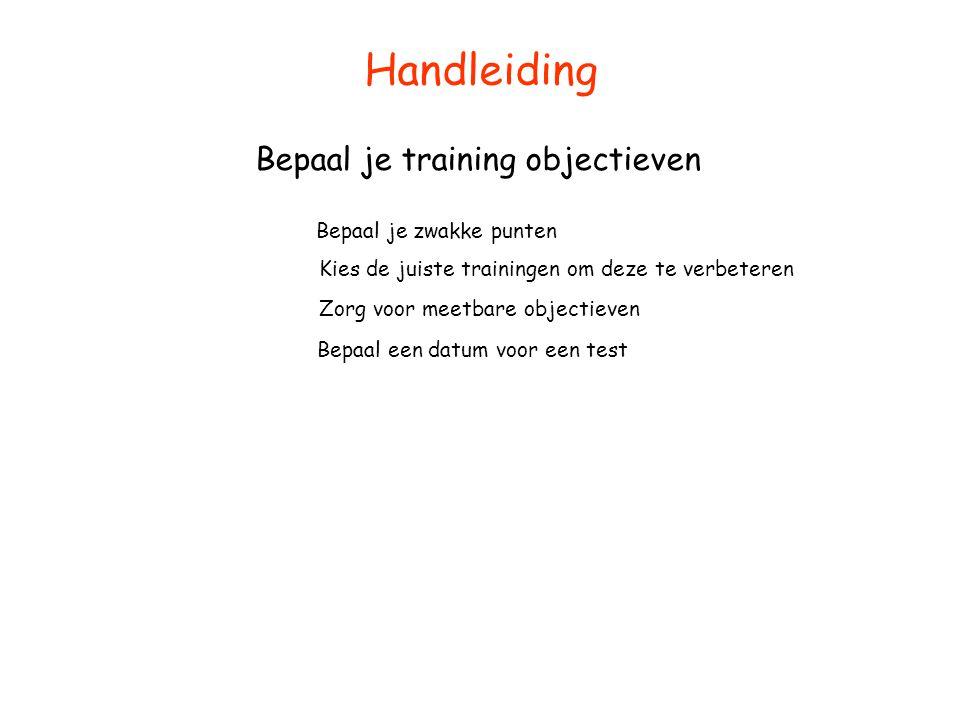 Handleiding Bepaal je training objectieven Bepaal je zwakke punten