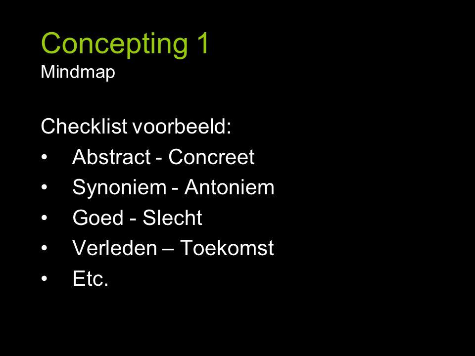 Concepting 1 Mindmap Checklist voorbeeld: Abstract - Concreet