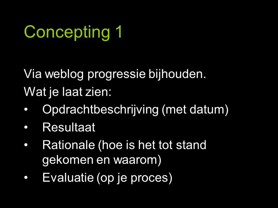 Concepting 1 Via weblog progressie bijhouden. Wat je laat zien: