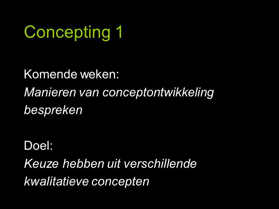 Concepting 1 Komende weken: Manieren van conceptontwikkeling bespreken