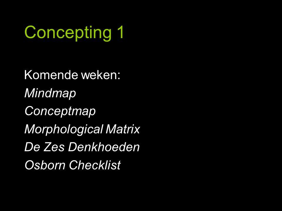 Concepting 1 Komende weken: Mindmap Conceptmap Morphological Matrix