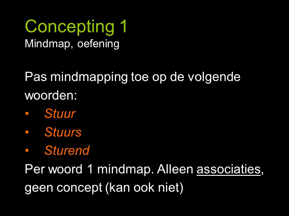 Concepting 1 Mindmap, oefening