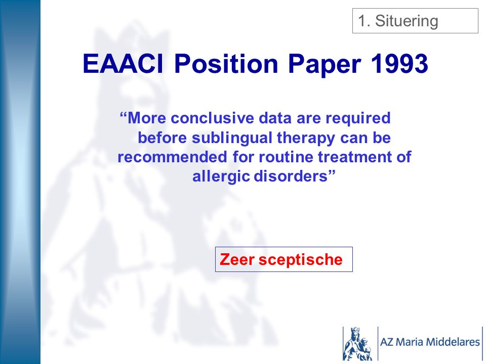 EAACI Position Paper 1993 1. Situering